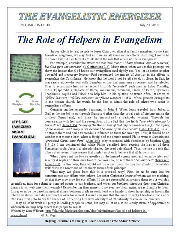 The Role of Helpers in Evangelism